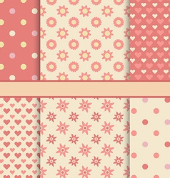 set seamless romantic patterns tiling - pink vector image