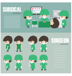 Surgical infographics element and set surgeon vector