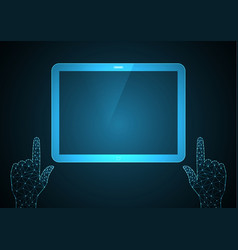 technology future point touch hand tablet vector image