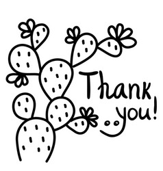 thanks card with cactus succulent and text hand vector image