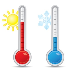 Thermometer with scale measuring heat and cold vector
