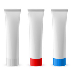 three toothpaste tube on white background vector image