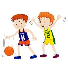 Two boys playing basketball vector image