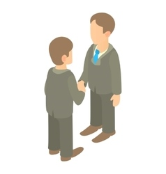 Two businessmen shaking hands icon cartoon style vector