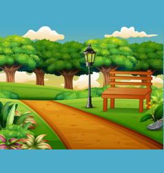 View of the road in a beautiful city park vector