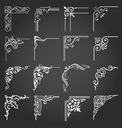 vintage design elements corners and borders set 5 vector image