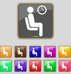 waiting icon sign Set with eleven colored buttons vector image