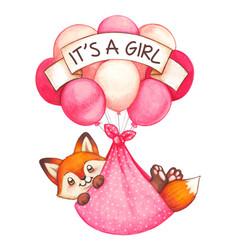 watercolor baby girl newborn fox flying vector image