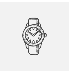 Wrist watch sketch icon vector image