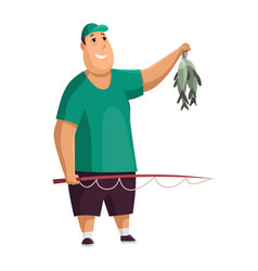 young fat man with fish rod and fishes in his vector image