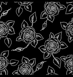 beautiful black and white seamless pattern roses vector image