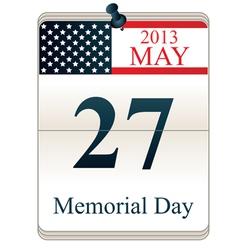 Calendar for Memorial Day vector image