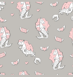 seamless pattern with sea horses vector image