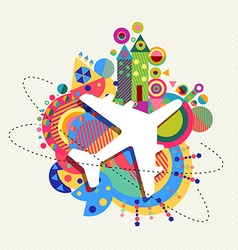 Air plane travel icon concept with color shapes vector image vector image