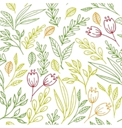 Floral seamless pattern with hand drawn flowers vector image vector image