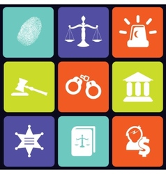 Justice icons square vector image vector image