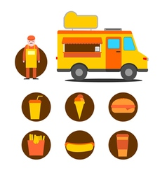 Mobile cafe business icons vector image vector image
