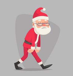 tired sad weary santa claus vintage walk character vector image vector image