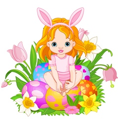baby girl sitting on easter eggs vector image vector image