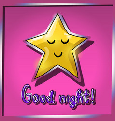 cartoon yellow smiling and sleeping star on pink vector image vector image