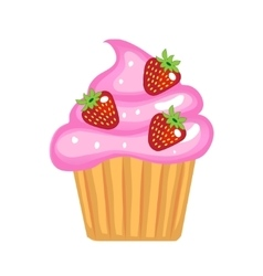 Cute cupcakes flat cartoon style Cake with cream vector image vector image