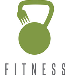 Kettlebell and fork healthy food design template vector