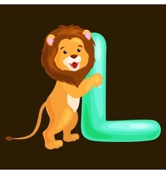 letter L with lion animal for kids abc education vector image vector image