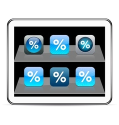 Percent blue app icons vector image vector image