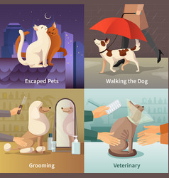 pet shop concept icons set vector image vector image