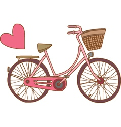 Pink bicycle with heart vector image vector image