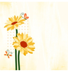 Springtime Colorful Daisy Flower with Butterfly vector image vector image