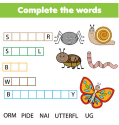 Educational children game complete the words kids vector