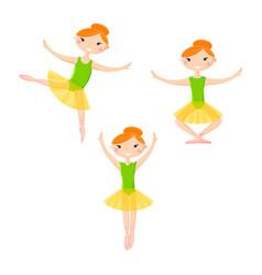 little smiling ballerinas in dance pattern art vector image vector image