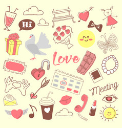 love romance hand drawn doodle with hearts vector image vector image