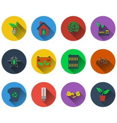Set of ecological icons in flat design vector image vector image