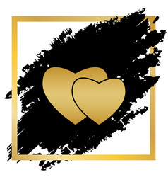 two hearts sign golden icon at black spot vector image vector image