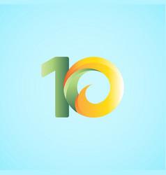 10 years anniversary celebrations yellow green vector