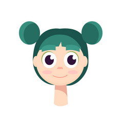 a young girl with big black eyes and green hair vector image