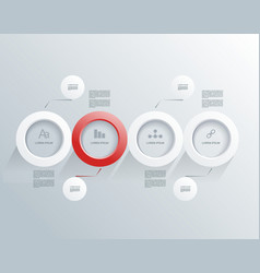 abstract white and red paper circle infographics vector image