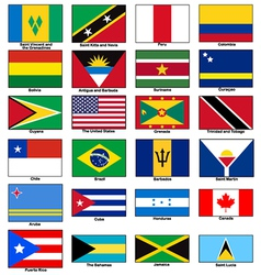 America continent Flags Set vector