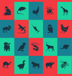Animal icons set with rooster shrimp swordfish vector