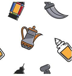 arab emirates seamless pattern teapot and perfumes vector image