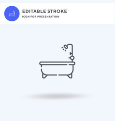 bathtube icon filled flat sign solid vector image