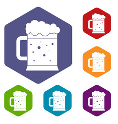 beer mug icons set hexagon vector image