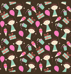 birthday seamless wallpaper girl and balloon in vector image