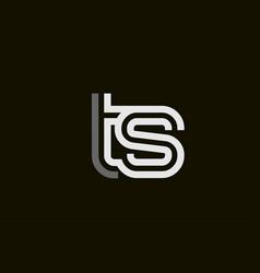 Black and white line ts t s letter logo alphabet vector