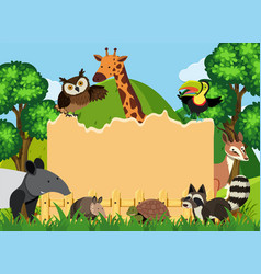 Border template with wild animals in park vector