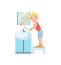 Boy Washing Hands In Bathroom Tap vector