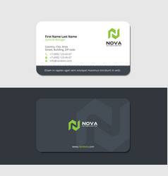 Business card with map icon and green letter n vector