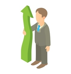Business man holding green arrow up icon vector image